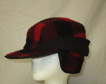 United Hatter Cap and Millenery Workers Union Red and Black Lumberjack Hunters  Elmer Fudd Hipster Hat 7 1 8 Large 61d55de722a4