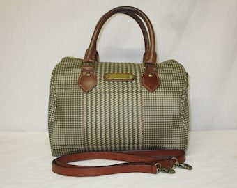 e658439b9ab Vintage POLO Ralph Lauren Houndstooth Plaid Boston Convertible Speedy Bag  Satchel Handbag Purse