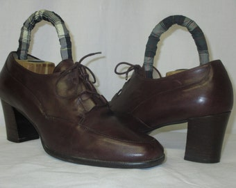 df13caa4f5 Vintage Enzo Angiolini Brown Leather Lace Up Oxford Shoes Size 8