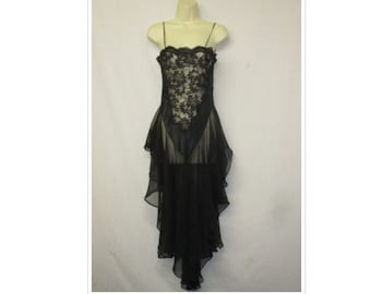 Vintage Lingerie Cacique Black Sheer   Lace Cascading Full Sweep Lingerie  Nightgown Size Small e2a254af9