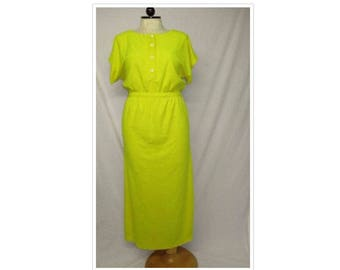 caee0ff5f4 Vintage 70's Beach Things YELLOW Terry Cloth High Split Dress Gown Size  Large