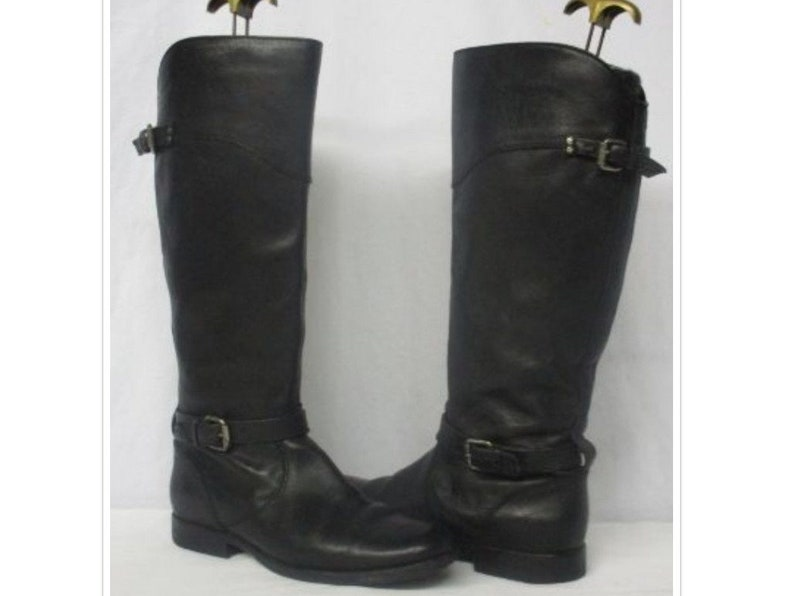 77d614ecc76 Vintage FRYE Phillip Black Leather Tall Harness Riding Boots Women's Size  10 Made in Italy