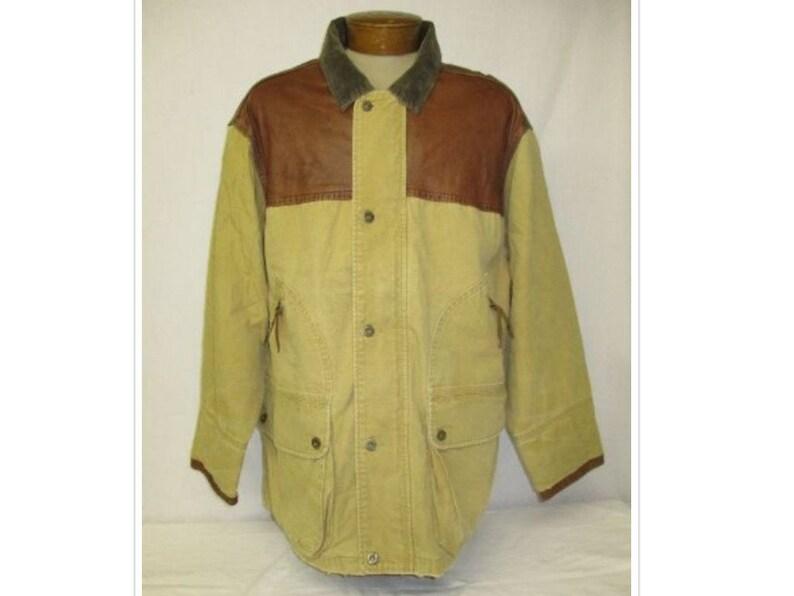 9864a16e Vintage 90's Tommy Hilfiger Leather & Khaki Canvas | Etsy