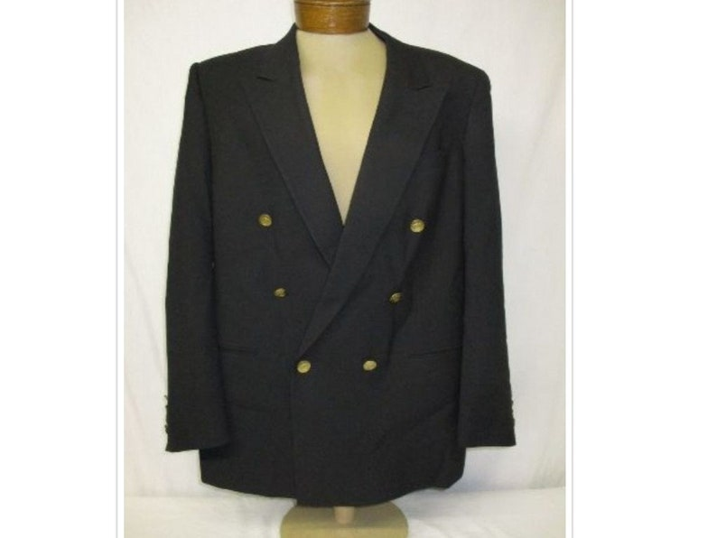 4c9ab4d8 Vintage Christian Dior Black Double Breasted Gold CD Crested Button Blazer  42R