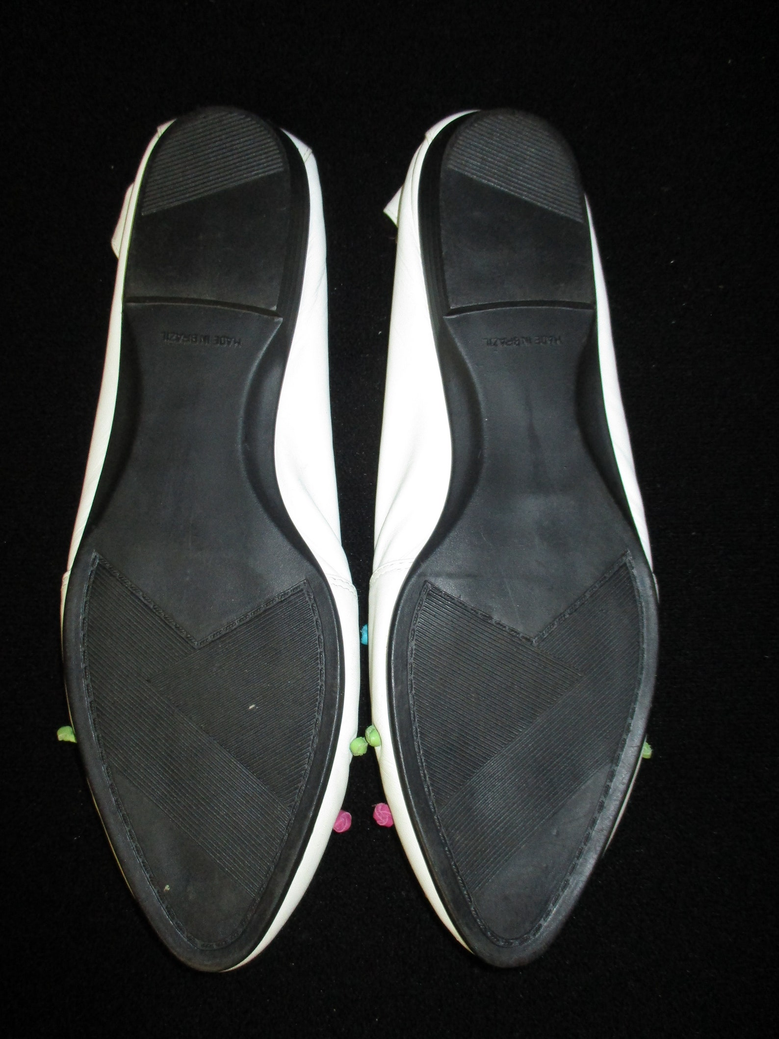 vintage mainframe knots white knotted leather ballet flats shoes size 8.5 made in brazil