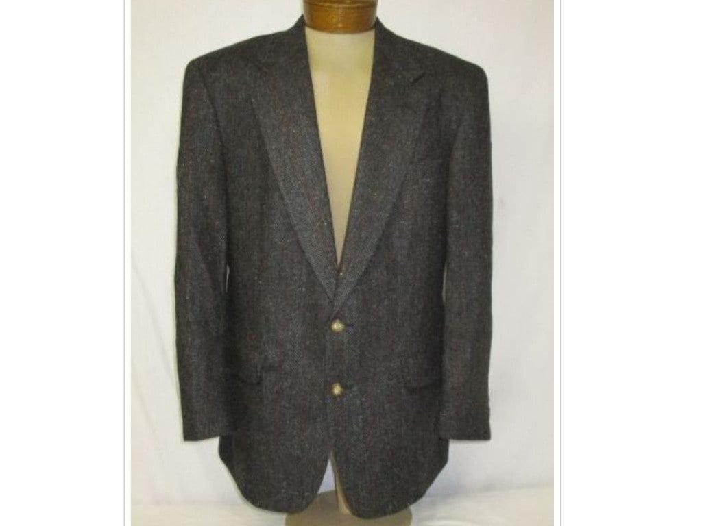 6ea3794903f Vintage Austin Reed Dillards Gray Tweed Herringbone Suede Elbow Patch  Blazer Jacket 42R