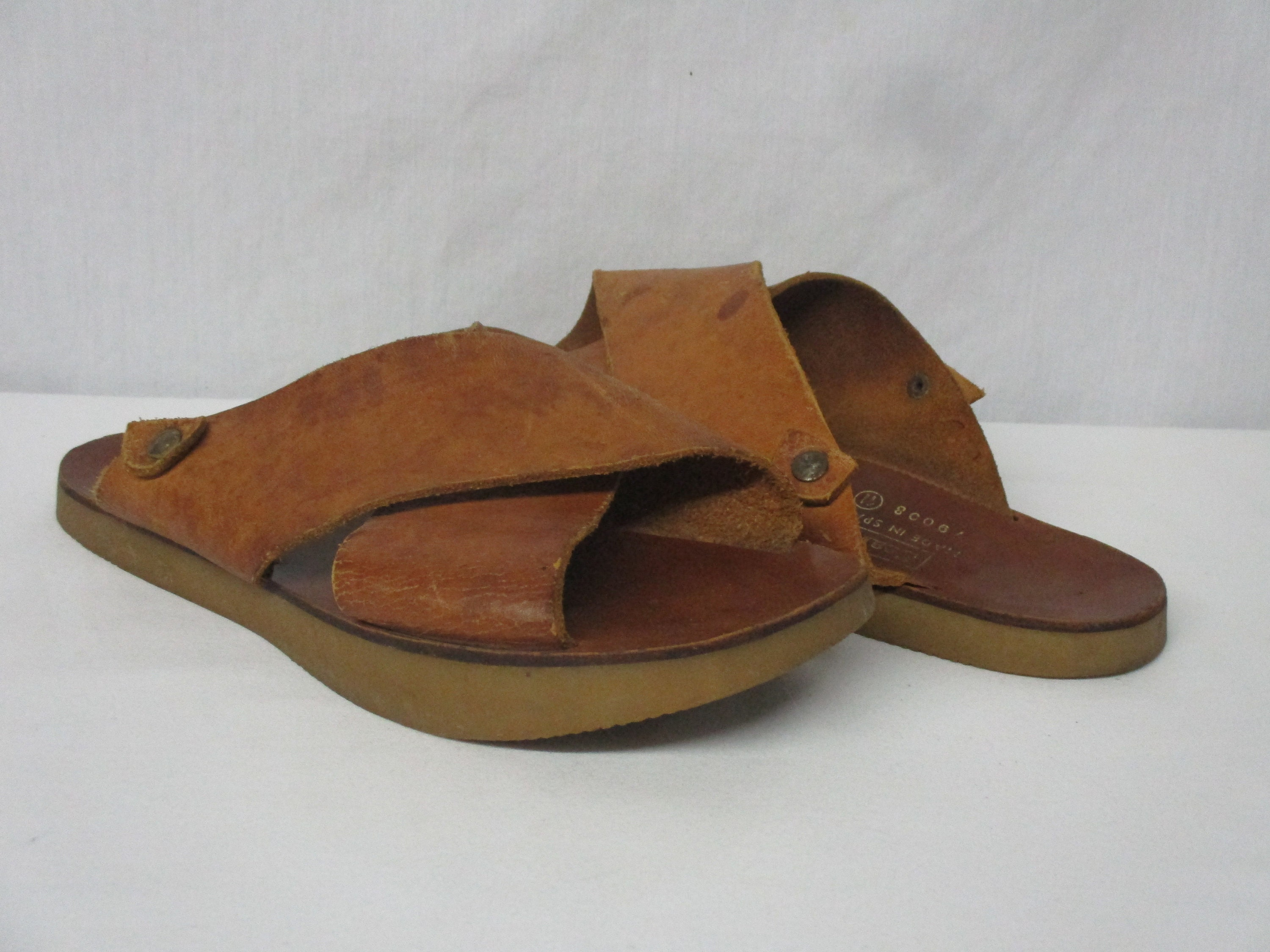 3e079684803 Vintage SEARS taille Double sangle en cuir marron Sandales