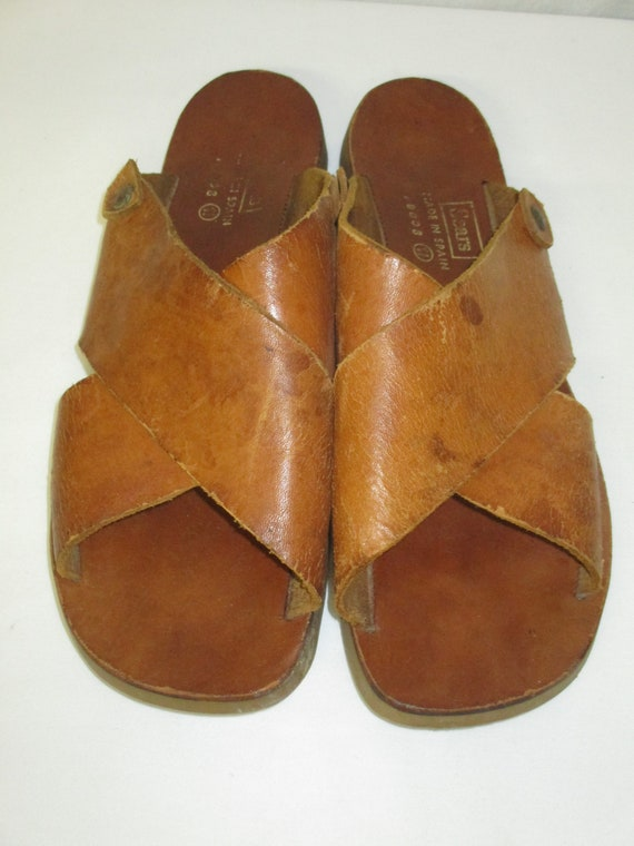 d71530aae5c7 Vintage SEARS Brown Leather Double Strap Sandals Men s