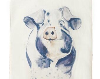 Percy pig tea towel