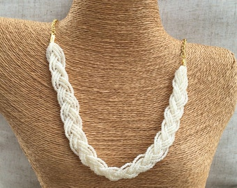 Braided ivory necklace, bridesmaids necklace, ivory necklace, ivory pearl necklace, bridesmaids necklace, ivory pearl bib, pearly ivory bib