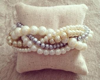 Braided cuff, ivory glass pearl bracelet, bridesmaids bracelet, ivory bracelet, pearl bracelet, statement bracelet, elegant bracelet