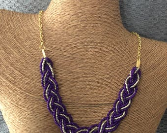 Purple braided bib, purple statement necklace, purple necklace, purple bridesmaids, statement necklace, purple bib necklace, plum necklace