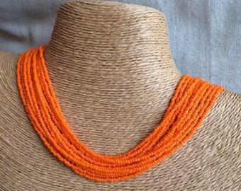 Orange beaded necklace, orange seedbead multi-strand necklace, orange bridesmaids, orange necklace, bridesmaids necklace, orange multistrand