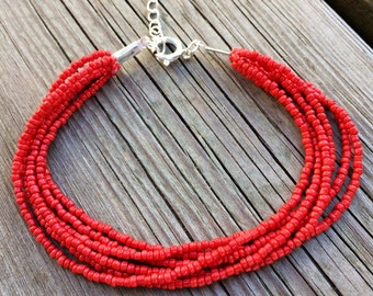 Red beaded bracelet, red multistrand, boho bracelet, red cuff bracelet, red bracelet, bridesmaids bracelet, red bridal party, red bridesmaid