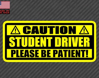 picture relating to Student Driver Sign Printable identify Fresh Driver Be sure to Be Affected individual Bumper Sticker College student Inspiration 2