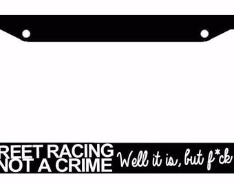blssdfr8m JDM Blessed Tuner Drifting Racing Funny Black License Plate Frame