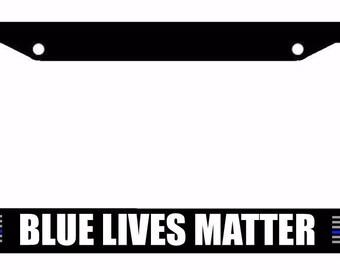 Thin Blue Line Support Police US Flag Black License Plate Frame #602