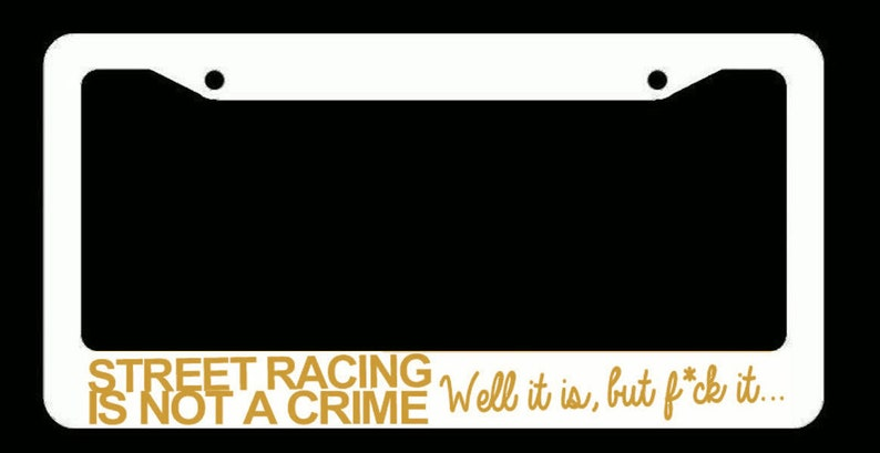 Night Runner JDM Drifting Racing Type 2 Black License Plate Frame Choose Color
