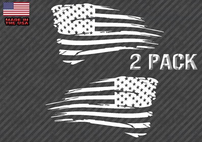 USA FLAG LH//REVERSED Vinyl Decal Sticker Silver Grey//Black