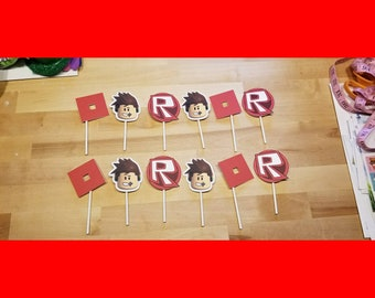 Roblox Inspired  Cupcake Cake Toppers - Set of 12 - Birthday Party