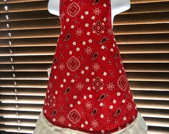 Blue and red ruffled child's apron