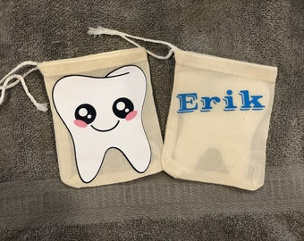 Drawstring tooth fairy bags personalized