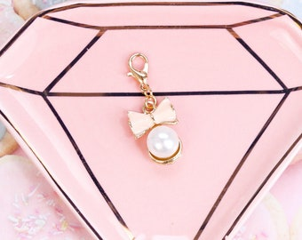 Couture Pink Bow with Faux Pearl Planner Charm