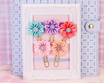 Sparkly Flower Planner Clips | Planner Accessories, Bookmarks, Stationery Gifts