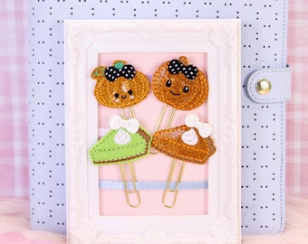 Pumpkins and Pie Planner Clips | Planner Accessories, Bookmarks, Stationery Gifts