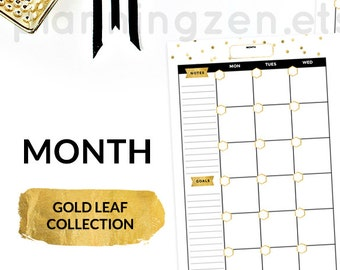 Gold Printable A5 Month Planner Inserts | Digital Planner Inserts | Printable Monthly Calendar