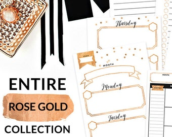 Rose Gold Printable Personal Planner Inserts PERSONAL Size - Entire Rose Gold Collection