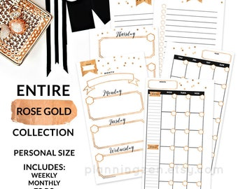 Printable Personal Planner Inserts PERSONAL Size - Entire Rose Gold Collection