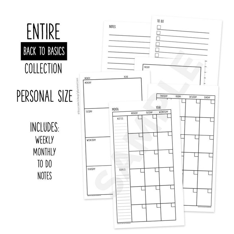Printable Personal Planner Inserts Refills PERSONAL Size Entire Back to Basics Collection