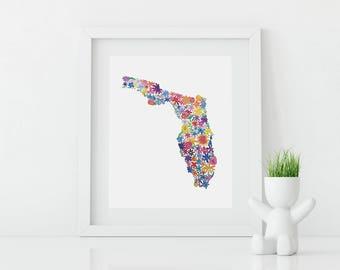 FLORIDA Floral Watercolor Print Digital Download