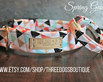 "Dog Collar with Optional bff bracelet ""Spring Geo"" FREE SHIPPING! **please leave EXACT tight wrist measurement with no wiggle room**"