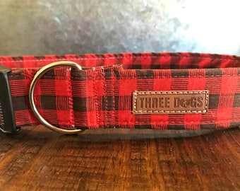 "Dog Collar with optional bff bracelet ""Buffalo Plaid"" FREE SHIPPING 
