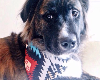 Native DOG Canvas Bandana! FREE SHIPPING! Personalization option! Tie Bandana! Snap bandana!  Cat bandana
