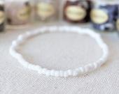 Matte White Seed Bead Anklet, Beaded Beach Anklet, Boho Anklet, White Anklet, Boho Ankle Bracelet, Ankle Bracelet, Anklet for Women