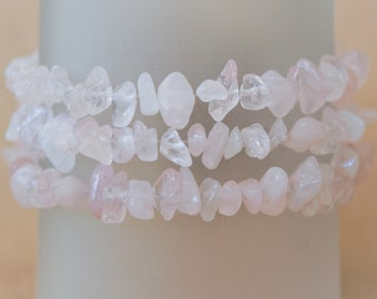 Rose Quartz Bracelet, Pink Stone Bracelet, Raw Rose Quartz Bracelet, Raw Gemstone Bracelet, Gemstone Anklet, Quartz Bracelet, Pink