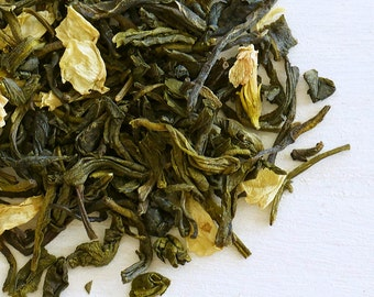 JASMINE JADE - Organic Loose Leaf Green Tea, Scented w/ dreamy night-blooming jasmine, Most popular as an oh-soo soothing everyday delight