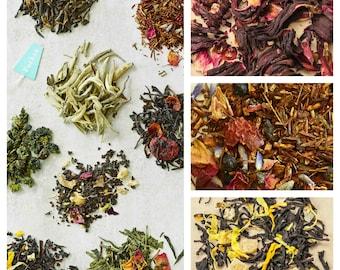 Loose Leaf Tea Sampler + 10 Tea Filters, You Pick 6 Organic Tea Set, Loose tea gift for her, Top Selling Mom Gift, bomboniere gift tea set
