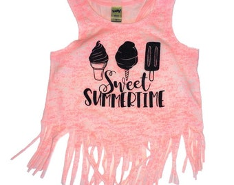 SWEET SUMMERTIME crop fringe tank