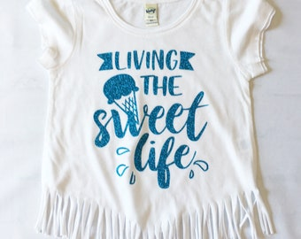 6X SWEET LIFE crop fringe shirt