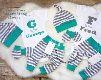 4dfc36102 Personalized Outfit Twins Boys Coming Home Outfit Newborn Outfit Customized Baby  Boy Outfit Grey Stripes Grey Mint Baby Mitts
