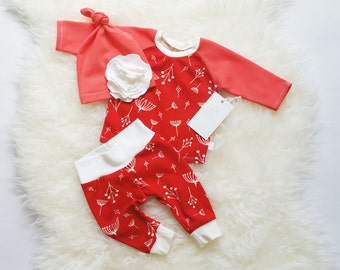 Organic Baby Girl Outfit - Take Home Girl Outfit - Coming Home Outfit - Newborn Clothes - Baby Shower Gift - Ready to Ship