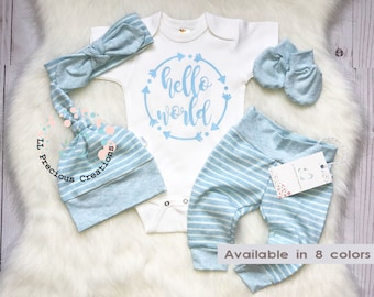 df459f8c1 Hello World Outfit Newborn Baby Outfit Gender Neutral Coming Home Outfit  Baby Girl Clothes Baby Boy Outfit Shower Gift Blue Stripes