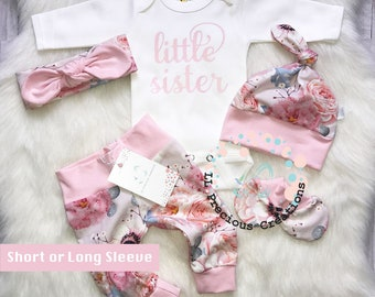 6abef0fba47b Newborn Baby Girl Baby Girl Clothes Coming Home Outfit Organic Little  Sister Outfit Newborn Girl Outfit Pink Floral Euro Print