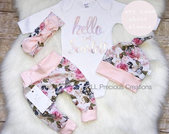 5fa8c12a63ac Baby Girl Coming Home Outfit Organic Hello World Outfit Newborn Girl Outfit  Personalized Outfit Baby Girl Clothes Pink Floral Euro Print