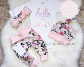778936e250db Baby Girl Coming Home Outfit Organic Hello World Outfit Newborn Girl Outfit  Personalized Outfit Baby Girl Clothes Pink Floral Euro Print