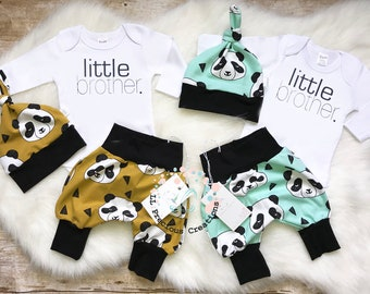 d766e741b885 Twins Boys Coming Home Outfit Organic Newborn Outfit Baby Boy Outfit Little  Big Brother Mint Mustard Panda